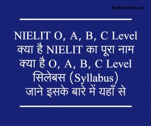 NIELIT O, A, B, C Level Syllabus, Exam Pattern in Hindi