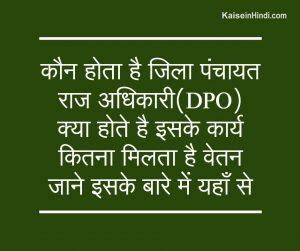 जिला पंचायत राज अधिकारी (DPO) कौन होता है