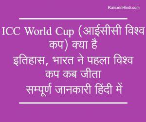 आईसीसी विश्व कप (ICC World Cup) क्या है?